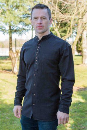 Black Traditional Civilian Grandfather Shirt