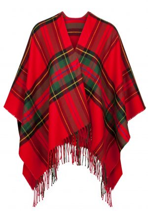 Jimmy Hourihan Fringed Shawl in Red/Green Plaid