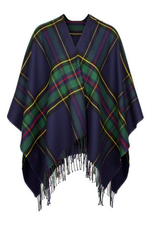 Jimmy Hourihan Fringed Shawl in Navy/Green Plaid