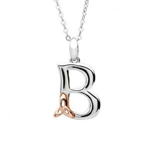 Sterling Silver & Rose Gold Celtic Initial B Necklace