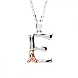Sterling Silver & Rose Gold Celtic Initial E Necklace