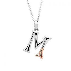 Sterling Silver & Rose Gold Celtic Initial M Necklace