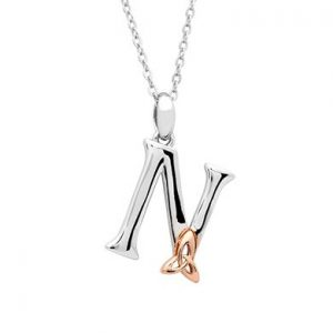 Sterling Silver & Rose Gold Celtic Initial N Necklace