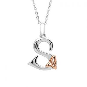 Sterling Silver & Rose Gold Celtic Initial S Necklace