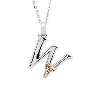 Sterling Silver & Rose Gold Celtic Initial W Necklace