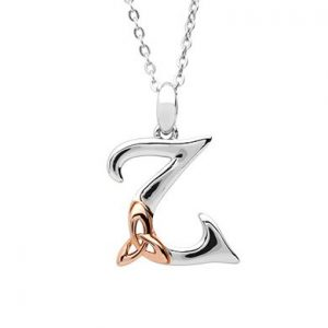 Sterling Silver & Rose Gold Celtic Initial Z Necklace