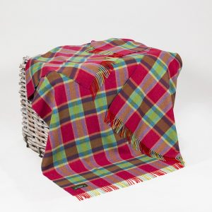 John Hanly Check Lambswool Throw Blanket