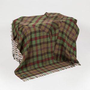 John Hanly Green Lambswool Throw Blanket