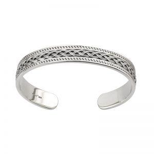 'Solvar Gents Sterling Silver Celtic Knot Torc Cuff Bangle s5959