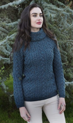 Ladies Peacock Cable Knit Cowl Neck Sweater