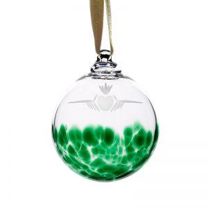 Green Irish Glass Shamrock Bauble