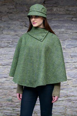 Green Herringbone Mucros Irish Poncho