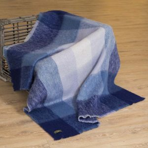 John Hanly Large Blue Mohair Blanket