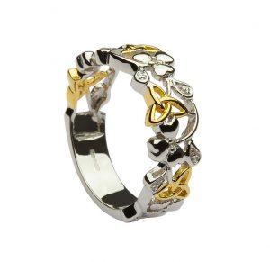 Sterling Silver Diamond Shamrock Trinity Ring