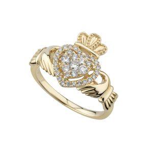 Solvar 14k Diamond Claddagh Ring