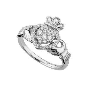 Solvar White Gold Diamond Claddagh Ring