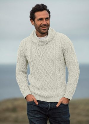 Aran Woollen Mills Merino Wool Collared Sweater