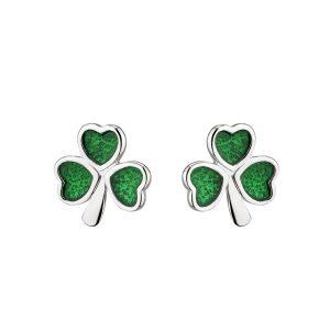 Solvar Silver Green Shamrock Earrings