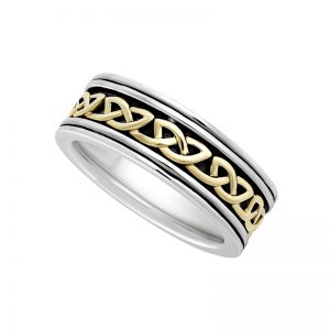 Solvar Gents Celtic Gold Silver Band s21075