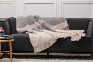 Foxford Gray Cream Mohair Blanket 4258/c3