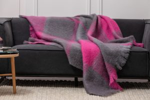 Foxford Gray Pink Mohair Blanket 4257/a1