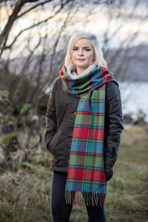 Foxford Lambswool Green Check Scarf