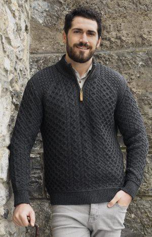Men's Aran Super Soft 1/2 Zip Sweater