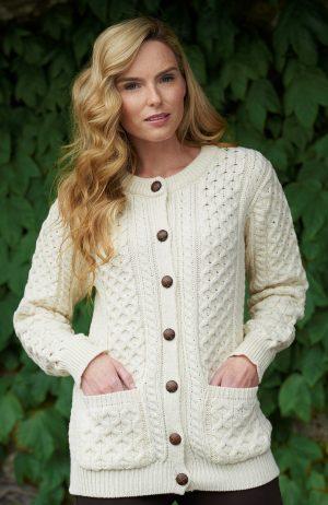Merino Wool Traditional Aran Cardigan