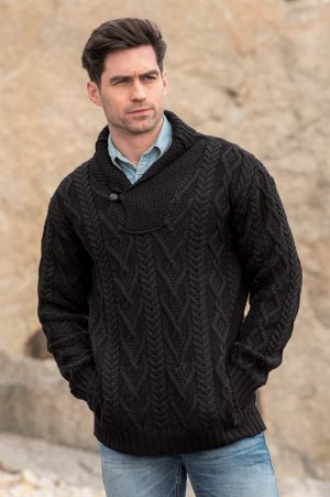 Black Shawl Collar Mans Sweater