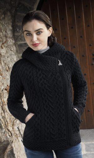 Aran Heart Black Hooded Cardigan
