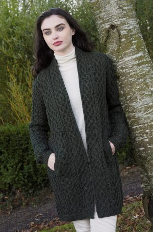 Celtic Braid Green Aran Coat