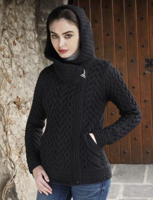 Aran Heart Black Hooded Cardigan