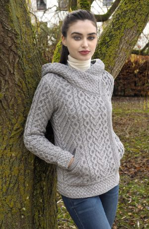 Aran Heart Grey Hooded Cardigan