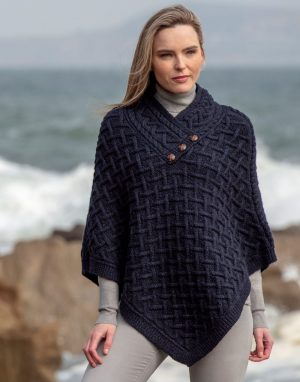 Aran Crafts Blue Wool Poncho