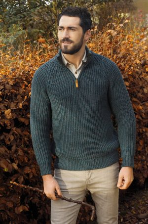 Fishermans 1/2 zip Green Sweater
