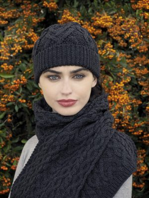 Aran Crafts Charcoal Heart Hat
