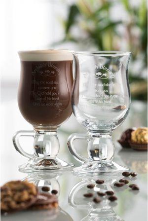 Galway Crystal Irish Blessing Latte Pair
