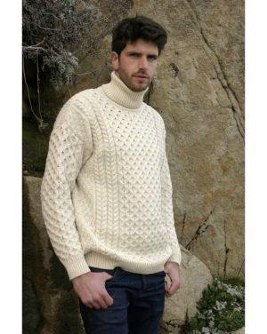 Polo Neck Natural Aran Sweater