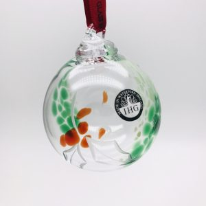 Irish Glass Christmas Holly Bauble