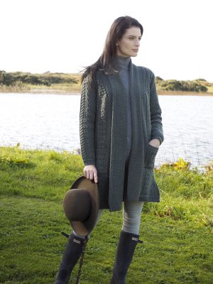 Aran Crafts Long Knitted Green Coat