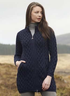 Aran Crafts Cable Knit Blackwatch Cardigan