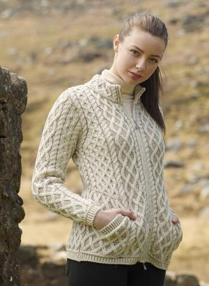 Aran Crafts Plated Zip Oatmeal Cardigan