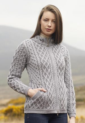Aran Crafts Plated Grey Zip Cardigan
