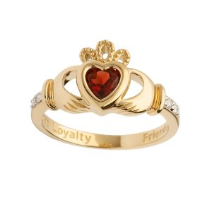 Shanore Gold January Birthstone Claddagh Ring