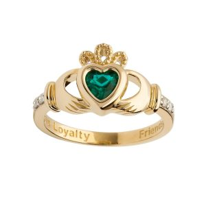 Gold May Birthstone Claddagh Ring