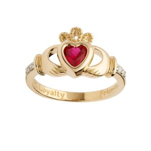 Gold July Birthstone Claddagh Ring