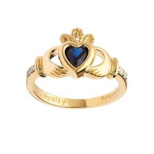 Gold Sapphire September Birthstone Claddagh Ring