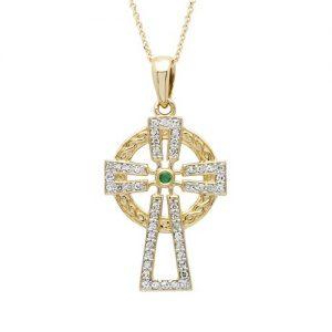 Shanore Gold Diamond Emerald Celtic Cross