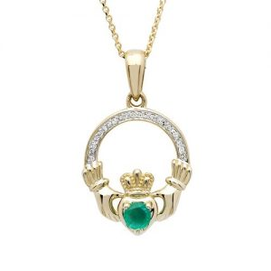 Shanore 14k Emerald Diamond Claddagh Pendant