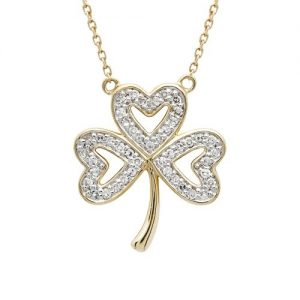 Shanore 14K Diamond set Shamrock Necklace